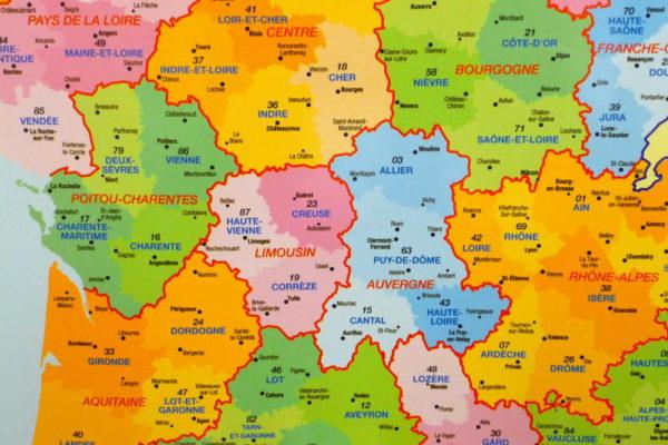 Департаменты Франции карта