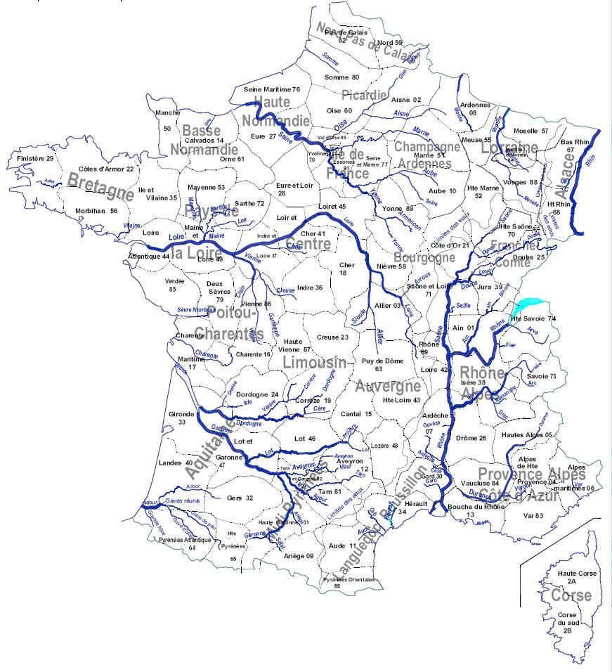 Реки Франции на карте