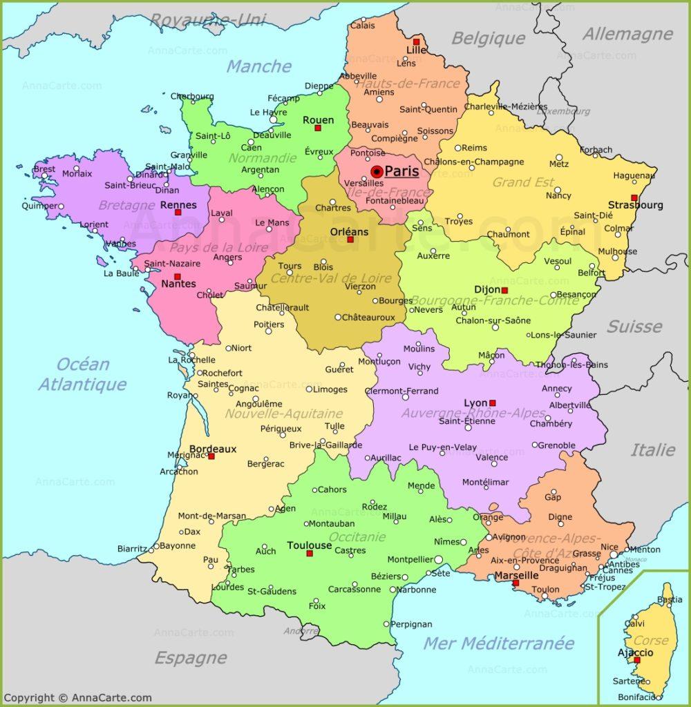 Карта Франции с городами и провинциями