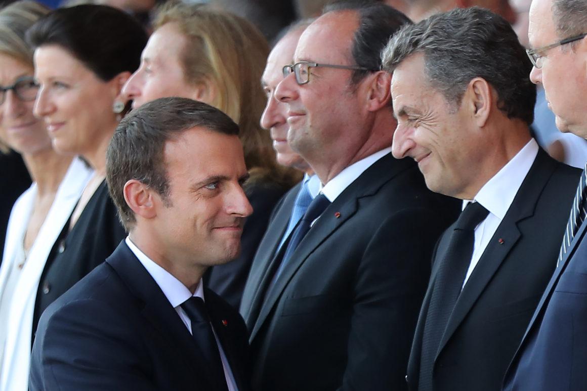 Президенты Франции: Эмманюэль Макарон, Франсуа Олланд и Николя Саркози
