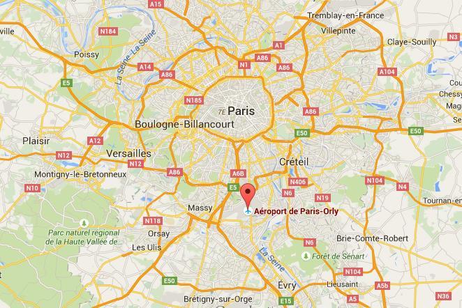 Аэропорт Орли на карте Парижа
