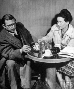 Жан-Поль Сартр и Симона де Бовуар в кафе де Флор