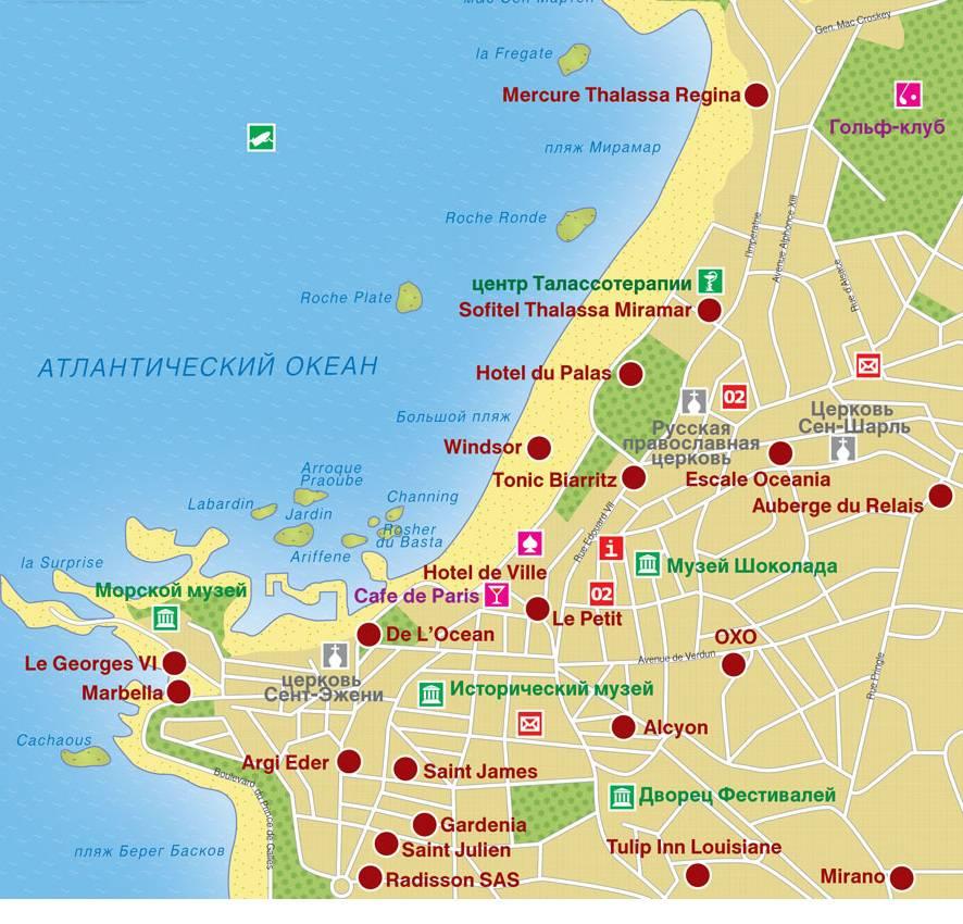 Карта достопримечательностей Биаррица